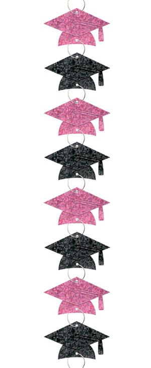 Black & Pink Graduation Cap Ring Garland