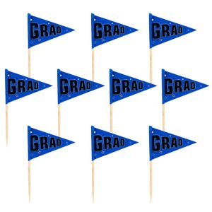 Blue Graduation Flag Picks 36ct