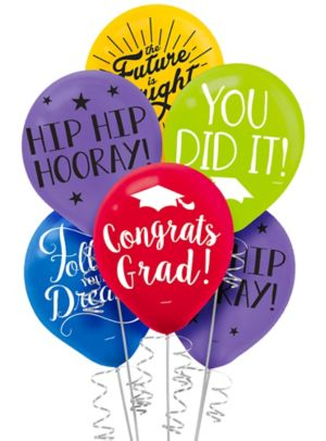 Multicolor Graduation Balloons 15ct