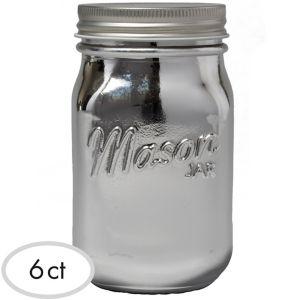 Silver Glass Mason Jars 6ct