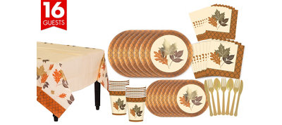 Copper Leaves Fall Tableware Kit for 16 Guests