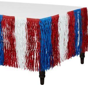 Patriotic Red, White & Blue Fringe Table Skirt
