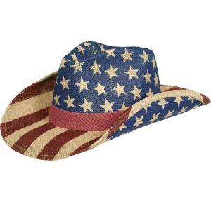 Burlap Patriotic American Flag Cowboy Hat
