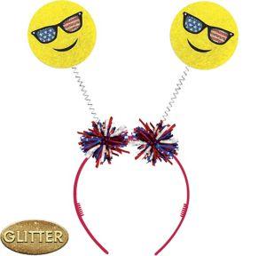 Glitter Patriotic Smiley Head Bopper