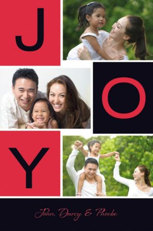 Custom Red Bold Joy Collage Photo Card