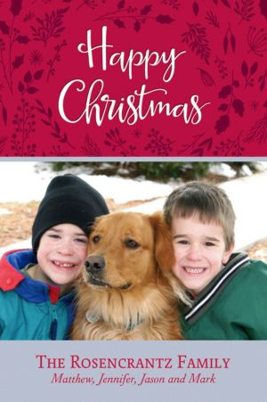 Custom Red Flora Christmas Photo Card