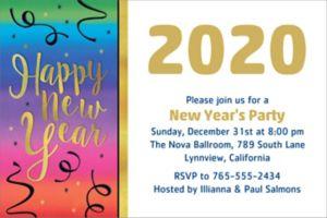 Custom Colorful Happy New Year Invitation