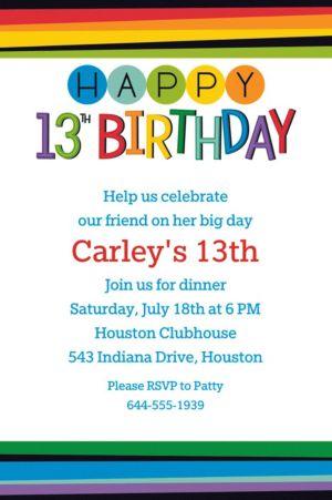 Custom Rainbow 13th Birthday Invitation