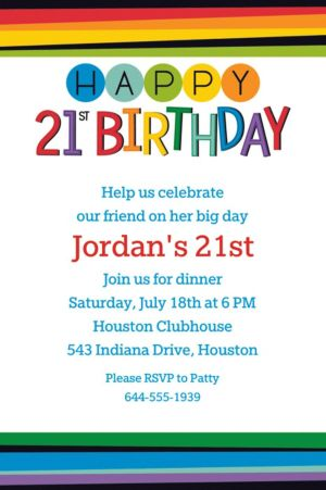 Custom Rainbow 21st Birthday Invitation