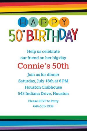 Custom Rainbow 50th Birthday Invitation