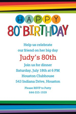 Custom Rainbow 80th Birthday Invitation