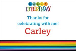 Custom Rainbow 13th Birthday Thank You Note