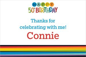 Custom Rainbow 50th Birthday Thank You Note