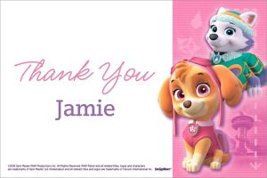 Custom Pink PAW Patrol Thank You Note