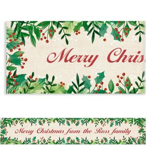 Custom Holly Merry Christmas Banner