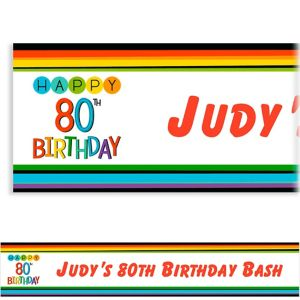 Custom Rainbow 80th Birthday Banner