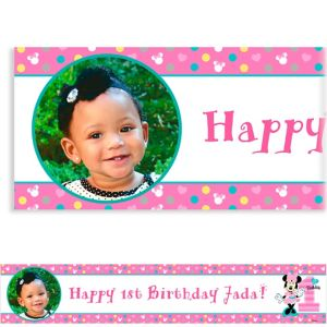 Custom Minnie's 1st Birthday Photo Banner