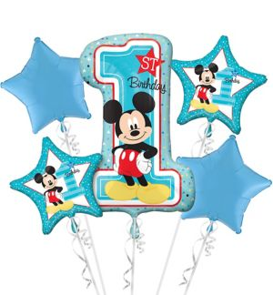 1st Birthday Mickey Mouse Balloon Bouquet 5pc