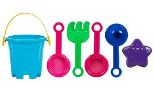 Sand Bucket Beach Toy Set 6pc