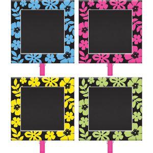 Neon Hibiscus Chalkboard Clips 8ct