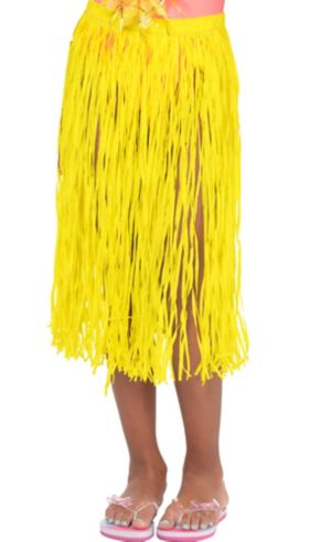 Child Long Yellow Hula Skirt