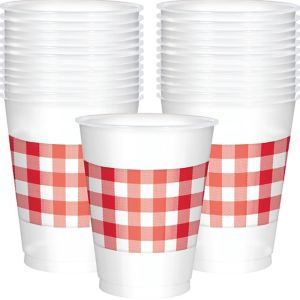 Red Gingham Plastic Cups 25ct