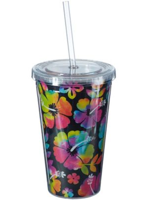 Neon Hibiscus Double Wall Tumbler with Straw