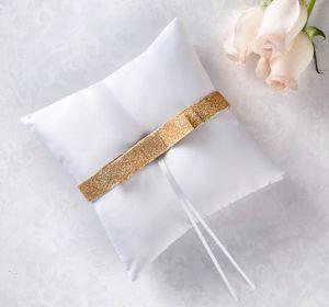Glitter Gold Bow Ring Bearer Pillow