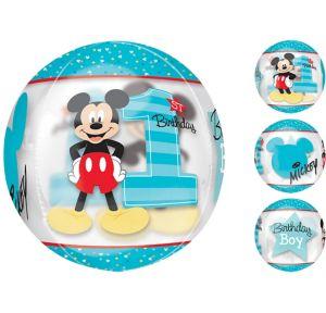 1st Birthday Mickey Mouse Balloon - See Thru Orbz