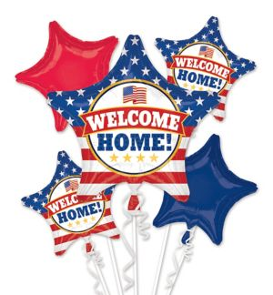 Patriotic Welcome Home Balloon Bouquet 5pc