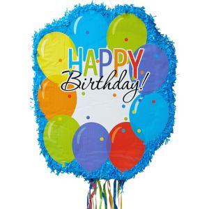 Pull String Personalized Rainbow Balloon Bash Pinata