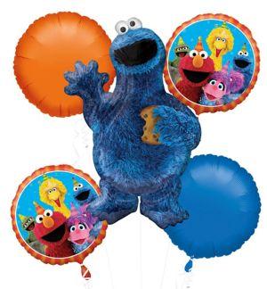 Cookie Monster Balloon Bouquet 5pc - Sesame Street