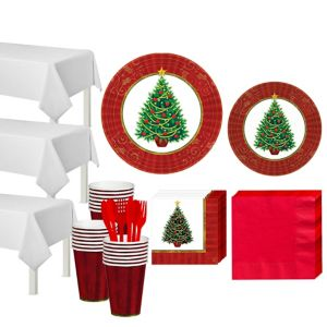 Twinkling Christmas Tree Tableware Kit for 50 Guests