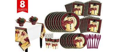 Cozy Snowman Tableware Kit for 8 Guests