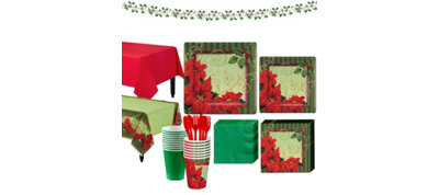 Vintage Poinsettia Tableware Kit for 36 Guests