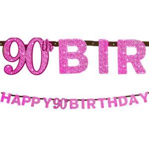 Prismatic 90th Birthday Banner - Pink Sparkling Celebration