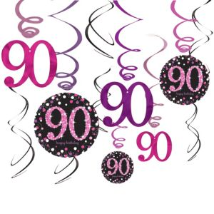 90th Birthday Swirl Decorations 12ct - Pink Sparkling Celebration