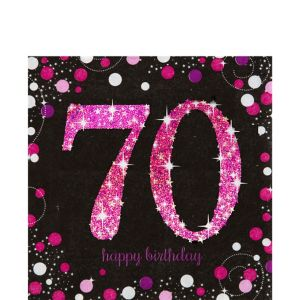 70th Birthday Lunch Napkins 16ct - Pink Sparkling Celebration