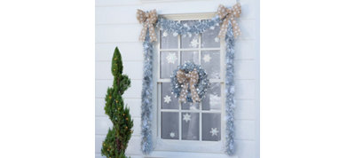 Silver Christmas Outdoor Window Decorating Kit