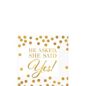 Gold She Said Yes Wedding Beverage Napkins 16ct