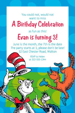 Custom Dr. Seuss Invitation
