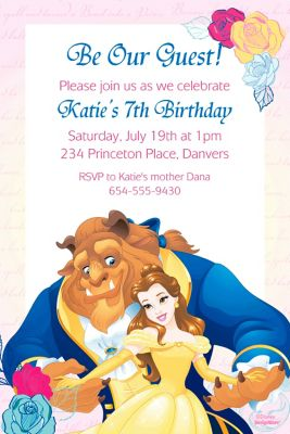 Custom Beauty and the Beast Invitations Thank You Notes Banners