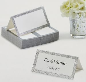 Glitter Silver Place Cards 50ct