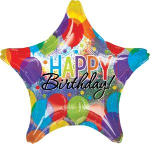 Giant Rainbow Balloon Bash Star Happy Birthday Balloon