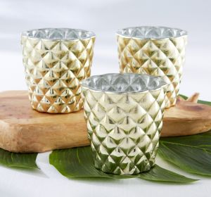 Gold Textured Votive Candle Holders