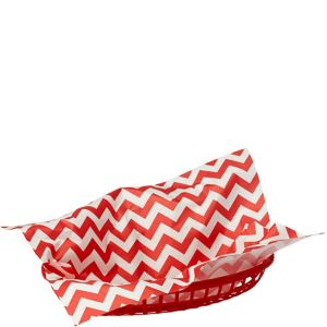 Red Chevron Paper Basket Liners 16ct