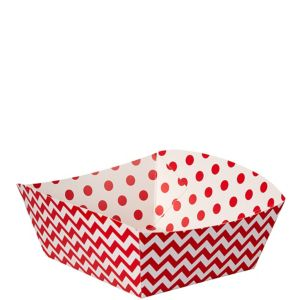 Red Polka Dot & Chevron Square Paper Food Trays 16ct