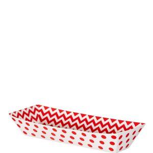 Small Red Polka Dot & Chevron Rectangular Paper Food Trays 16ct