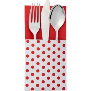 Red Polka Dot Cutlery Holders 16ct