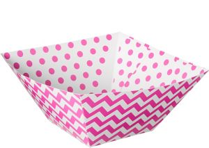 Bright Pink Polka Dot & Chevron Serving Bowls 3ct